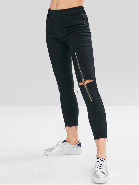 Zip Embelezado Desgastado Jeans - Preto M