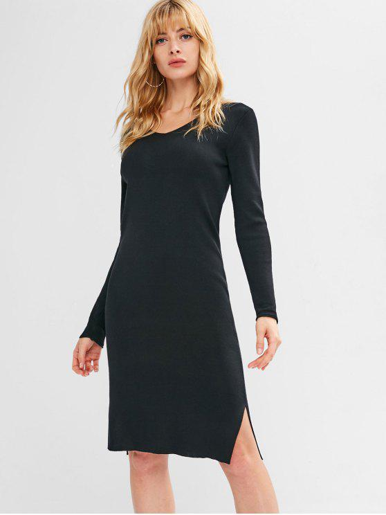 Fenda vestido de camisola de manga comprida - Preto L