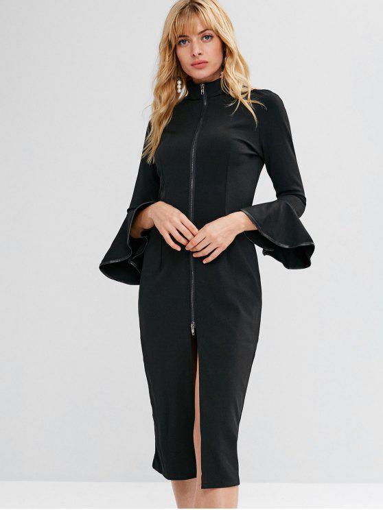 online Slit Zip Up Flare Sleeve Dress - BLACK M