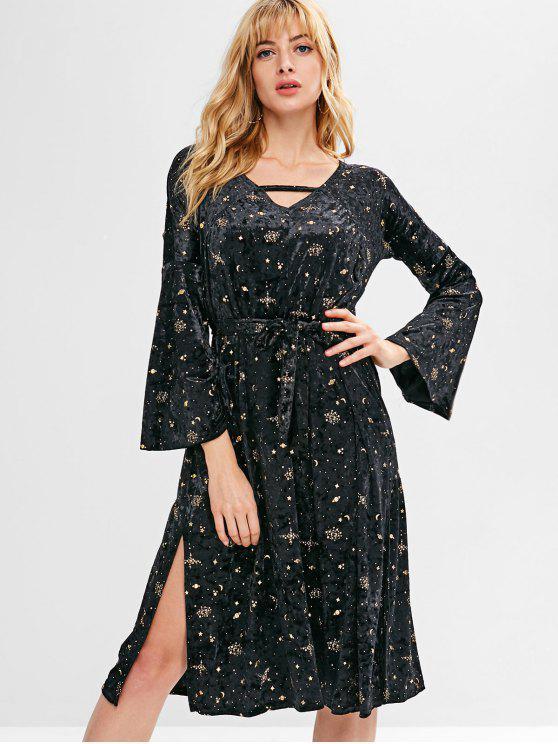 womens Slit Star Velvet Flare Sleeve Dress - BLACK L