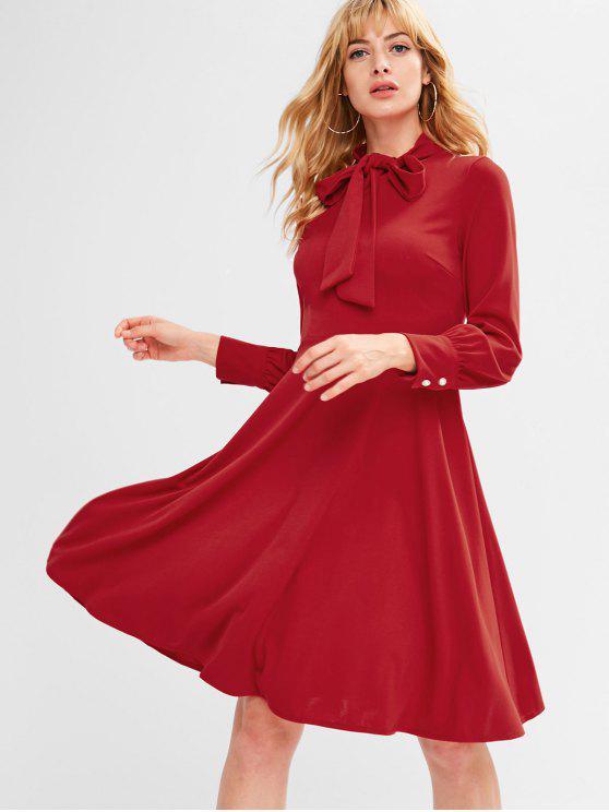 عودة زيبر القوس التعادل فستان طويل الأكمام - الحمم الحمراء L