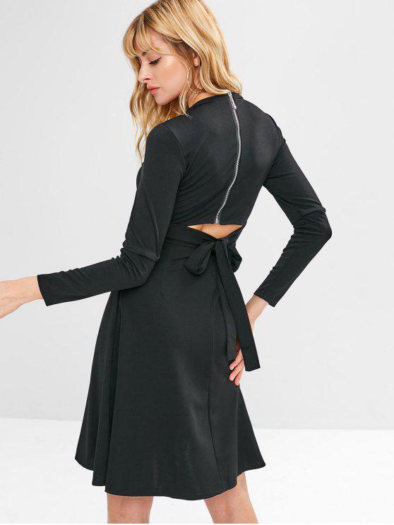 hot Back Zipper Cut Out Mini Dress - BLACK M