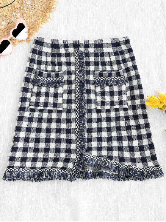 shop Asymmetric Hem Tassels Design Plaid Skirt - MULTI ONE SIZE