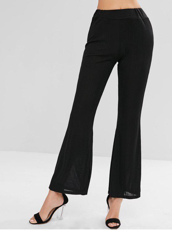 Pantalon Jambe Semi-Evasée à Taille Haute - Noir M