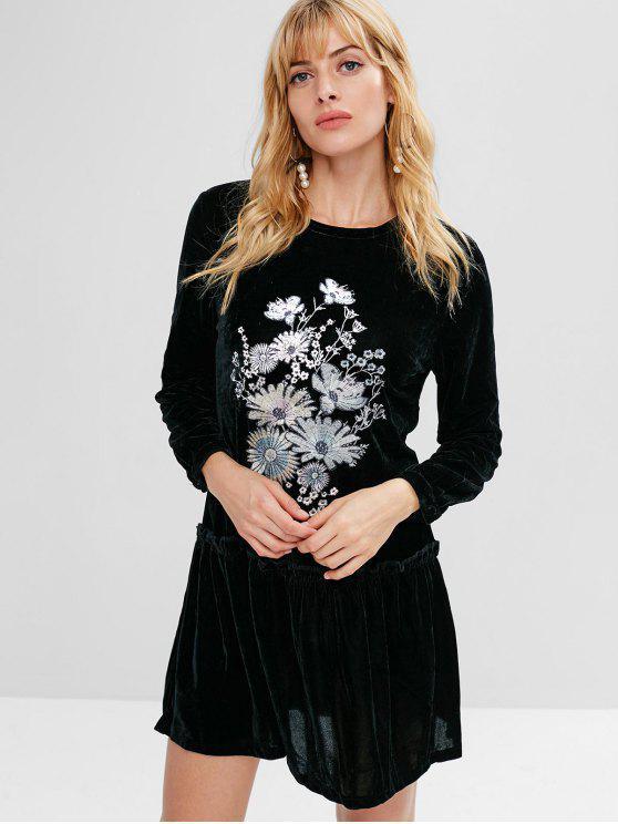 online Flower Embroidered Drop Waist Velvet Dress - BLACK M