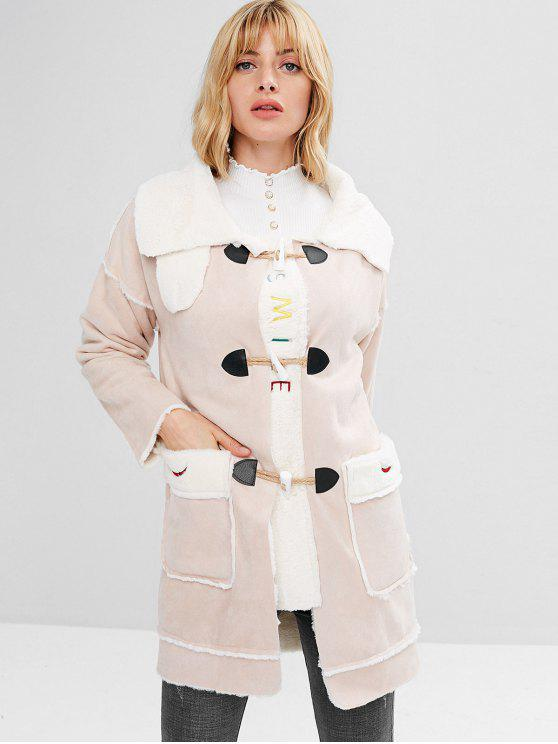 women's Letter Patched Pockets Sheepskin Coat - SAKURA PINK M