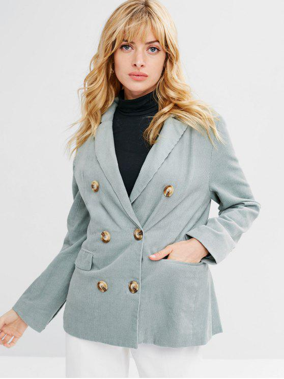 ladies Double Breasted Corduroy Lapel Blazer - PALE BLUE LILY M