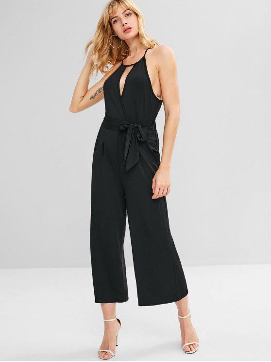 chic Belted Keyhole Wide Leg Jumpsuit - BLACK S