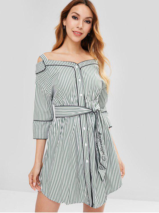 فستان عاري الكتفين - الغابة الخضراء M