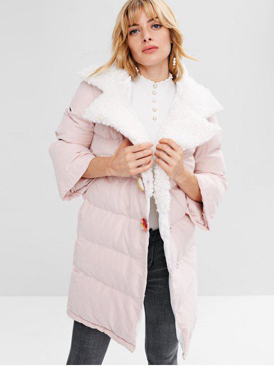 shops Snap Button Plain Quilted Coat - SAKURA PINK S