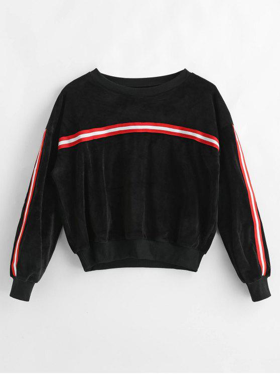 Sweat-shirt Rayé en Velours - Noir L