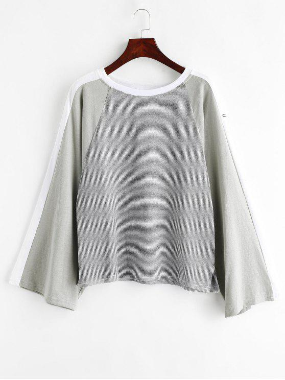 women's Raglan Sleeve Contrasting Striped Sweatshirt - MULTI ONE SIZE