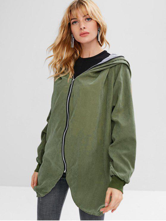 ladies Full Zip Hooded Coat - ARMY GREEN S