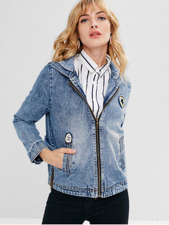fancy Hooded Zip Frayed Trim Jean Jacket - DENIM BLUE L