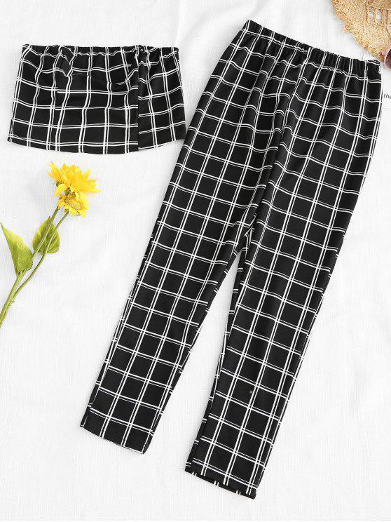 affordable Plaid Bandeau Top And Pants Set - BLACK L