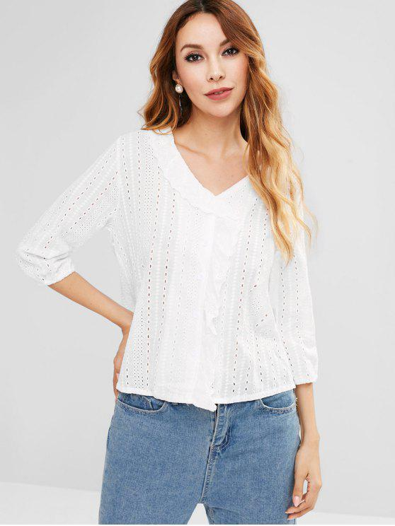 ef4ea25e00e64c 29% OFF] 2019 3/4 Sleeve Openwork Crochet Flounce Blouse In WHITE ...