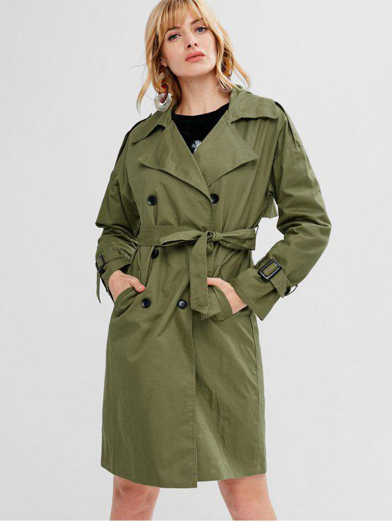 trendy Double Breasted Belted Trench Coat - ARMY GREEN S