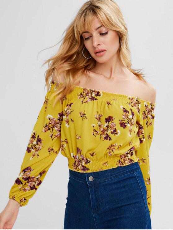 affordable Off Shoulder Chiffon Floral Blouse - BRIGHT YELLOW M