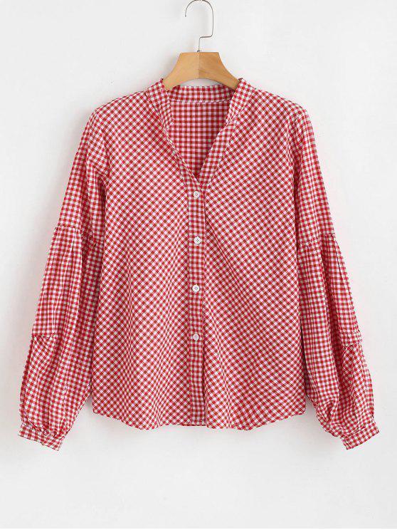 online Gingham Lantern Sleeve Blouse - RED M