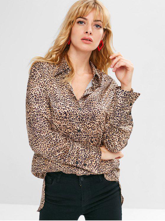 shops Leopard High Low Longline Shirt - LEOPARD M
