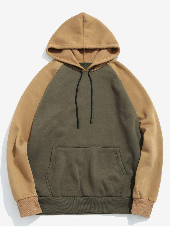 ladies Color Block Pullover Hoodie - ARMY GREEN M