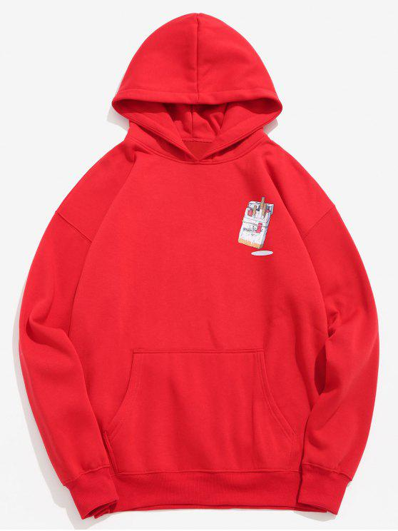fancy Funny Printed Hip Hop Style Hoodie - LAVA RED 2XL
