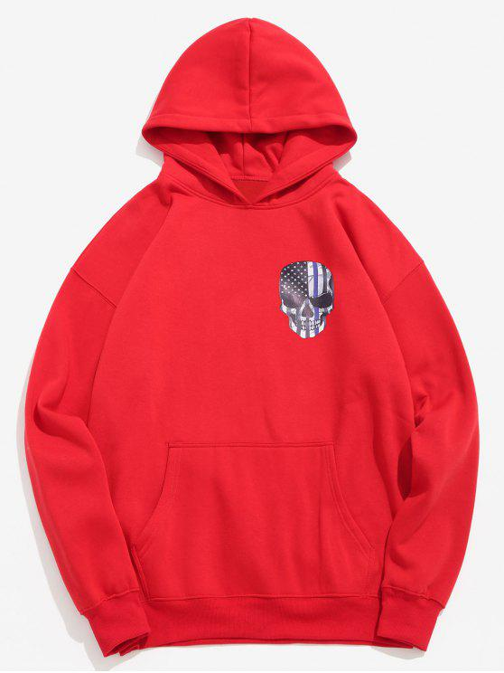 ladies Amercian Flag Skull Printed Pullover Hoodie - LAVA RED L