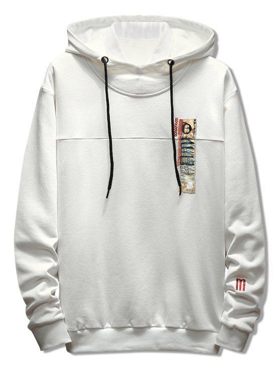 Stitchwork Applique Casual Pullover Hoodie - Weiß XL