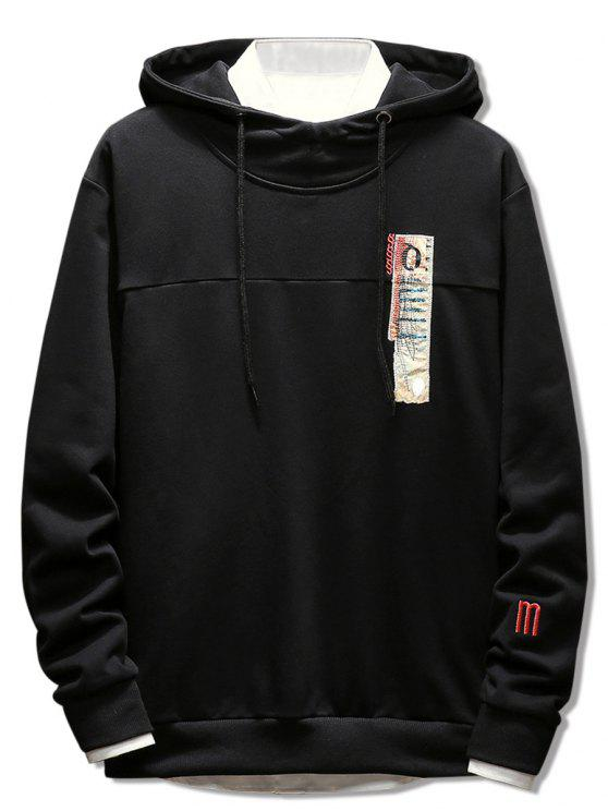 lady Stitchwork Applique Casual Pullover Hoodie - BLACK L