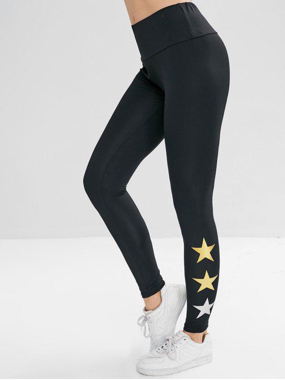 Leggings A Vita Elastica Con Stampa Stelle - Nero L