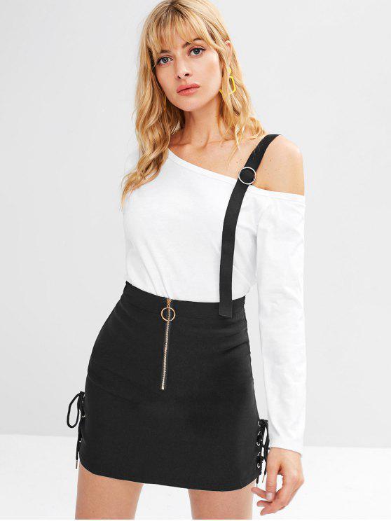 unique Zip Embellished Side Lace Up A Line Skirt - BLACK L