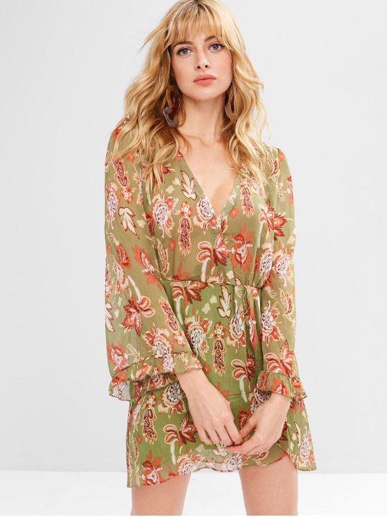 40% OFF  2019 Flower Low Cut Tulip Dress In AVOCADO GREEN M  5e19ae3f6