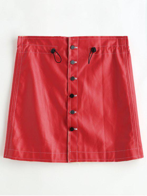 affordable Bodycon PU Skirt with Button Up - RED ONE SIZE