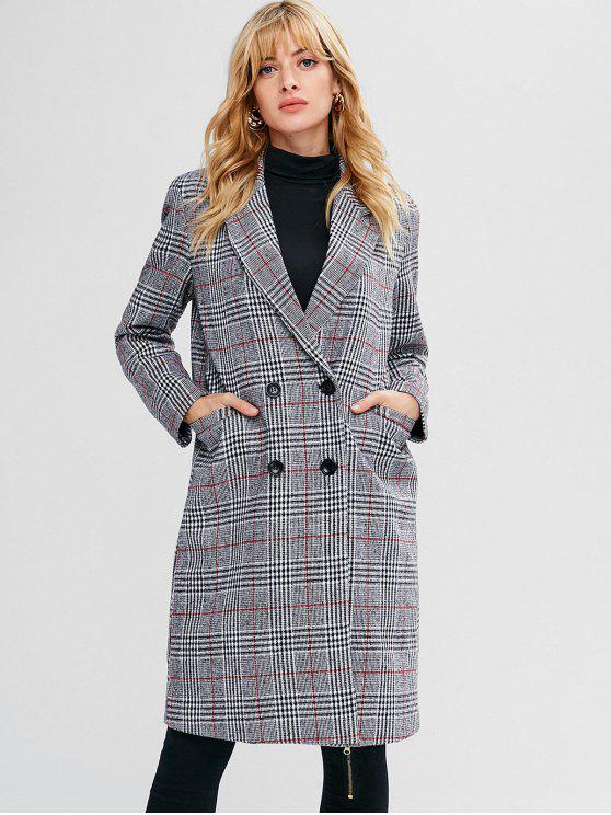 best Plaid Pocket Longline Coat - GRAY S