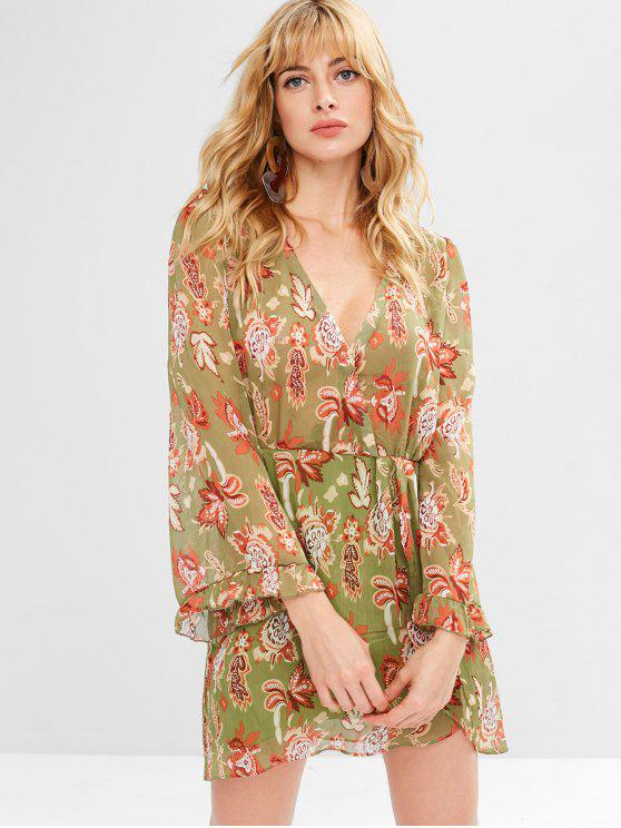 outfit Flower Low Cut Tulip Dress - AVOCADO GREEN S