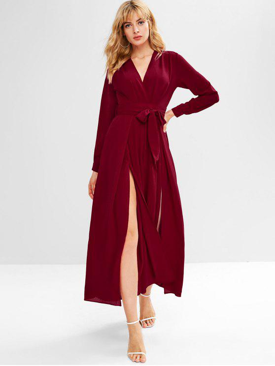affordable Slit Plunging Wide Leg Jumpsuit - RED WINE S