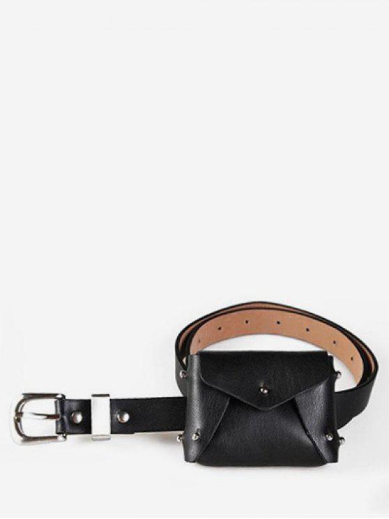 buy Mini Rivet Solid Color Waist Bag - BLACK