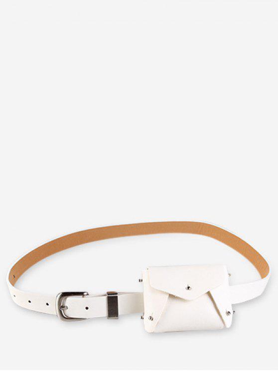 women Mini Rivet Solid Color Waist Bag - WHITE