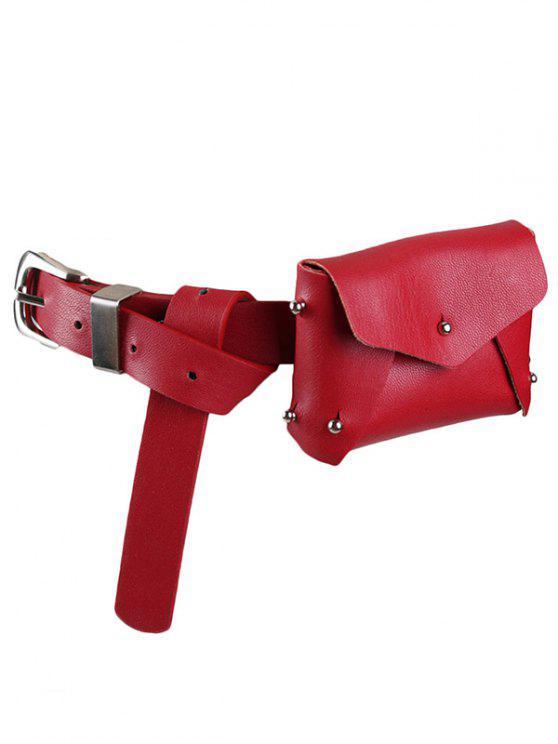 ladies Mini Rivet Solid Color Waist Bag - LAVA RED