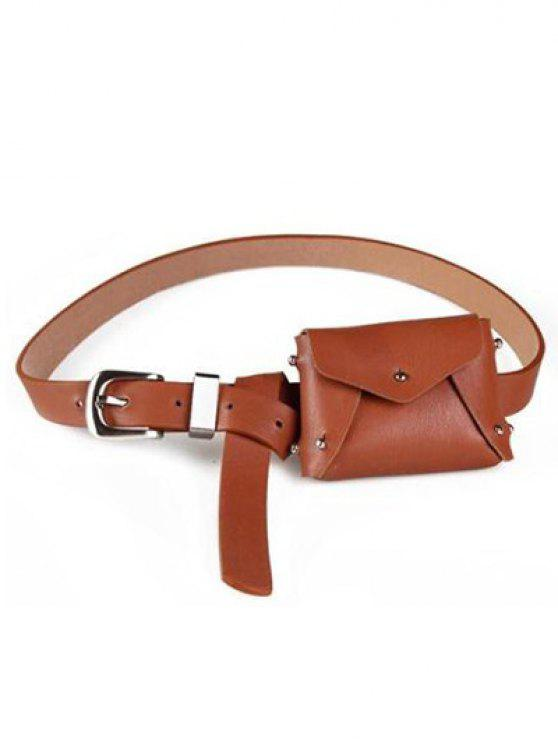best Mini Rivet Solid Color Waist Bag - LIGHT BROWN