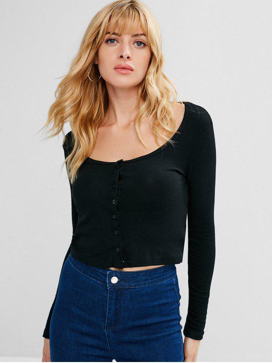 fashion Long Sleeve Scoop Neck Tee - BLACK M