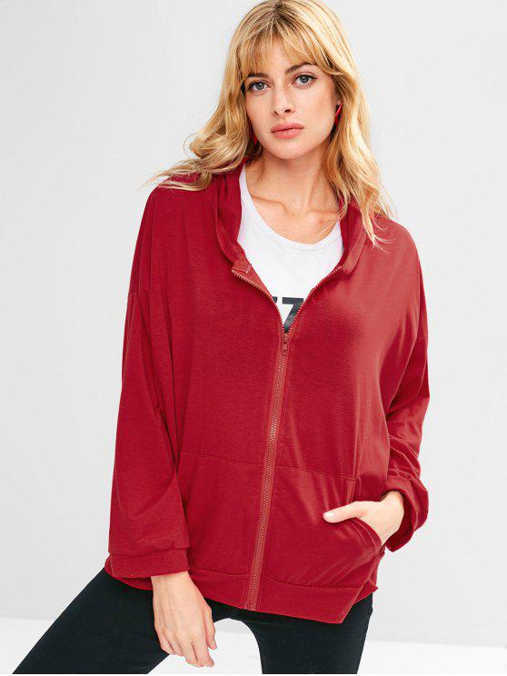 fancy Pockets Graphic Zip Up Hoodie - CHERRY RED M