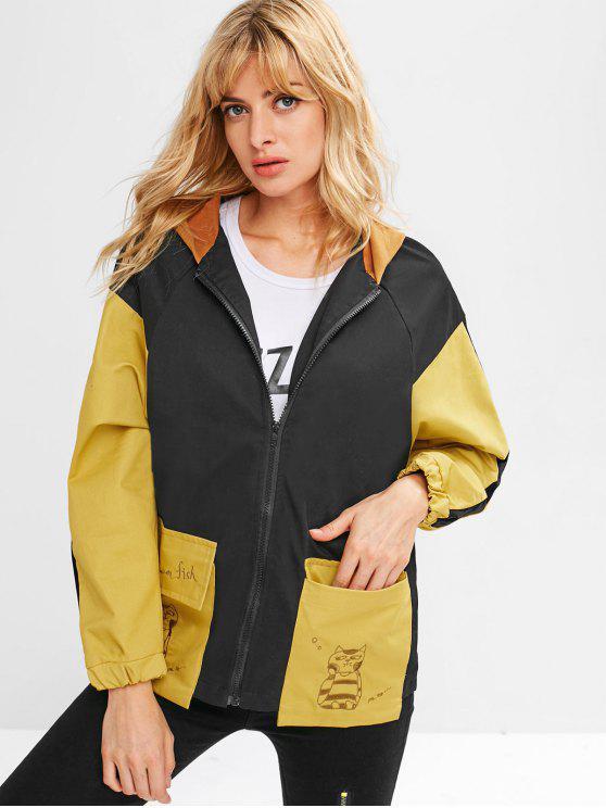 sale Embroidered Color Block Hooded Jacket - BLACK M