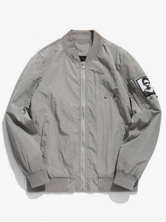 new Pockets Patch Waterproof Bomber Jacket - LIGHT GRAY M