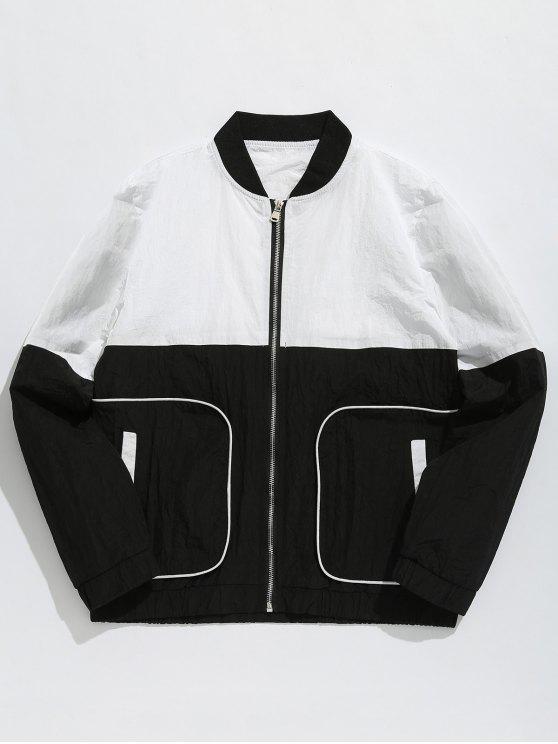 shop Color Block Pockets Bomber Jacket - BLACK XL
