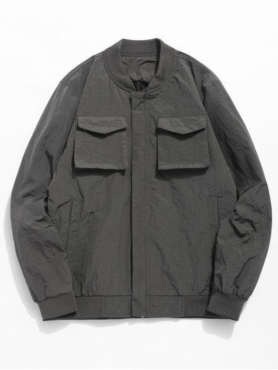 fancy Solid Pockets Anti Wrinkle Jacket - DARK GRAY M