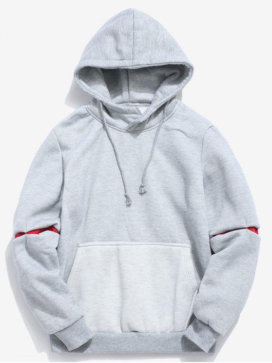 shop Contrast Patchwork Pocket Fleece Hoodie - GRAY M