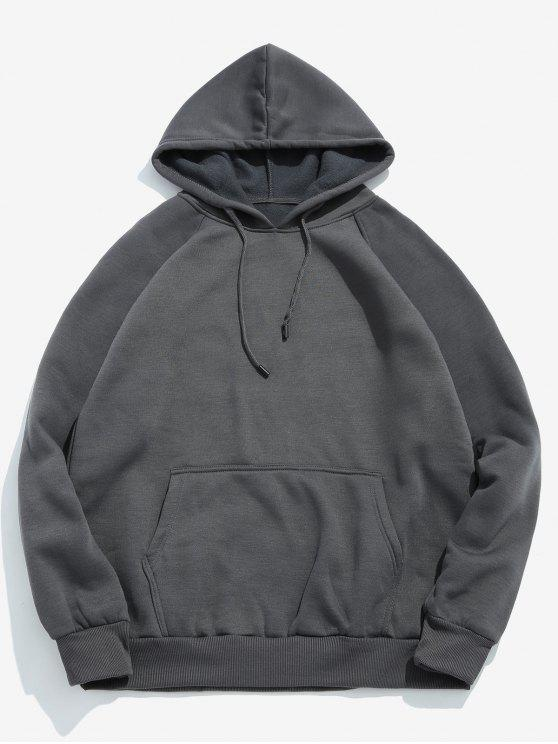 lady Basic Solid Pouch Pocket Fleece Hoodie - DARK GRAY XL