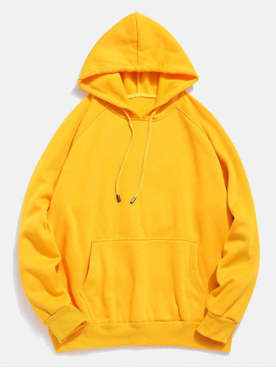 hot Basic Solid Pouch Pocket Fleece Hoodie - YELLOW M