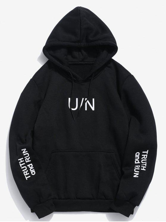 trendy Letter Pouch Pocket Fleece Hoodie - BLACK L